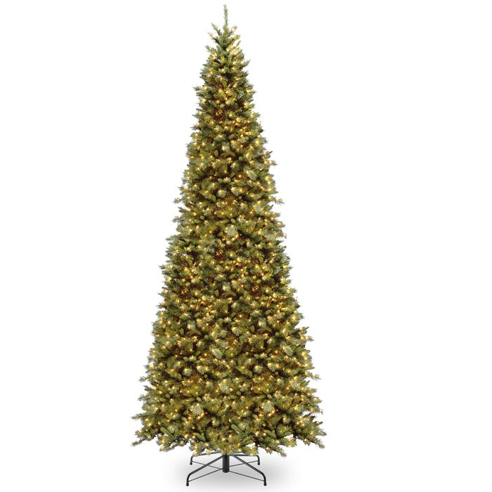 Tall Slim Christmas Tree.Tiffany Slim 12 Green Fir Artificial Christmas Tree With 900 Clear Lights With Stand