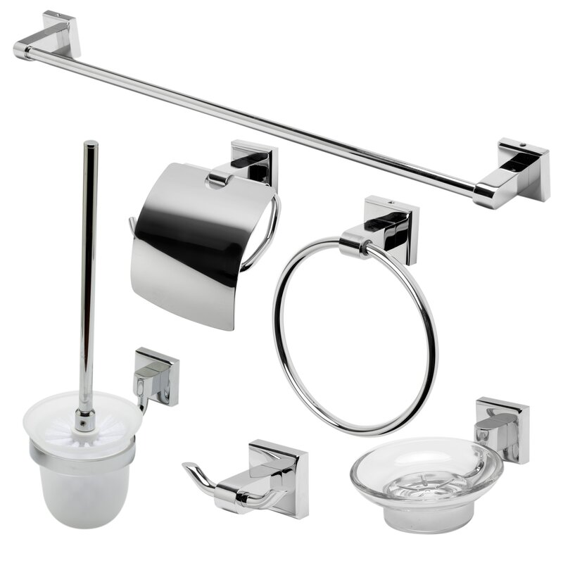 Alfi brand matching 6 piece bathroom accessory set for Matching bathroom accessories sets