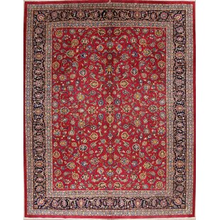 One-of-a-Kind Ebert Floral Kashan Vintage Persian Hand-Knotted 9'10 x 12'7 Wool Blue/Burgundy Area Rug Isabelline