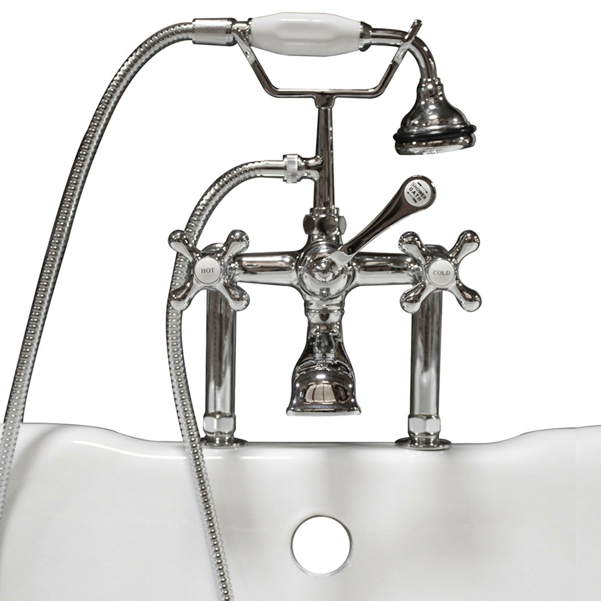 Clawfoot Deck Mount Brass Tub Faucet With Hand Held Shower
