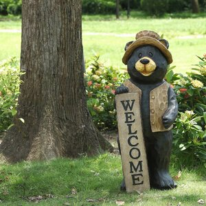 Bear Standing with Welcome Sign Statue