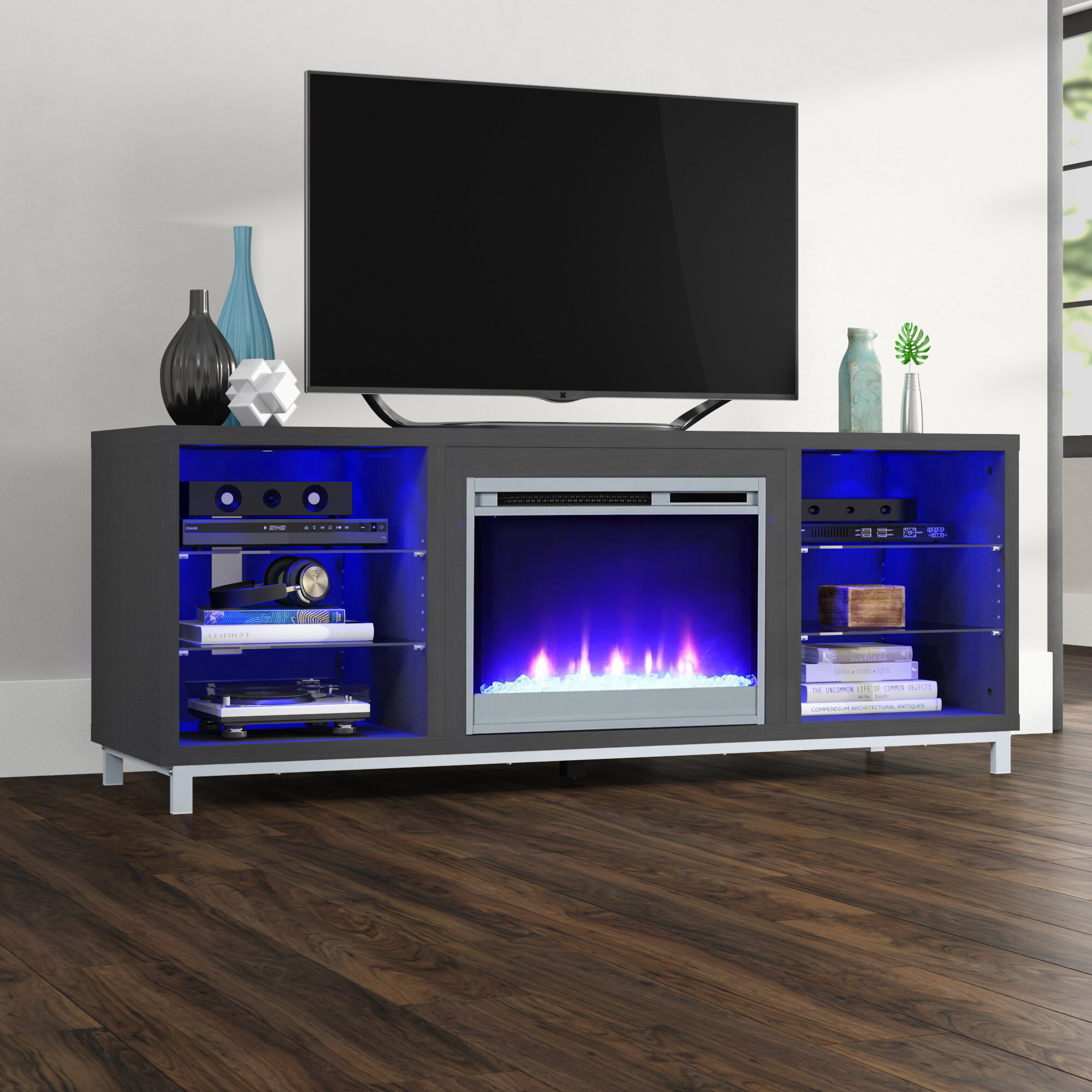 Wade Logan Hetton Tv Stand For Tvs Up To 70 With Fireplace Included Reviews Wayfair Ca