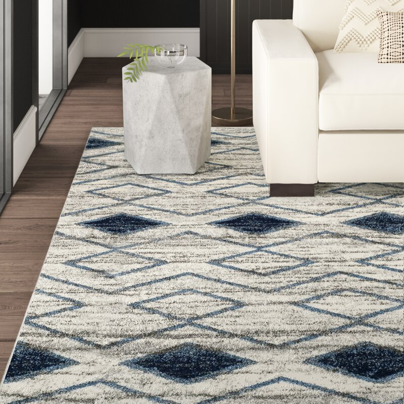 Mercury Row Elsass Geometric Beige Blue Area Rug Reviews Wayfair