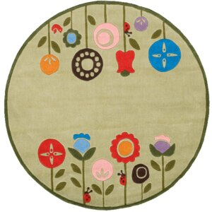 Candis Hand-Tufted Light Green Kids Rug