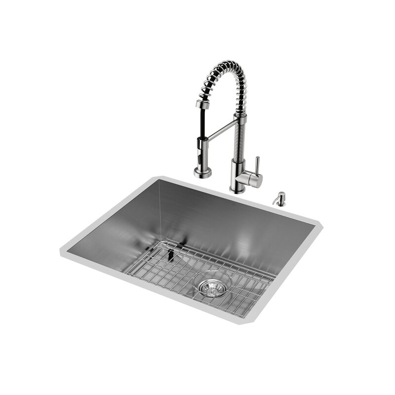 Medium image of 23 inch undermount single bowl 16 gauge stainless steel kitchen sink with edison stainless steel faucet
