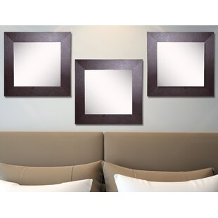 Ebern Designs Waite Wide Leather Wall Mirror (Set of 3)
