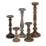 Wood Candlestick Set (Set of 5)