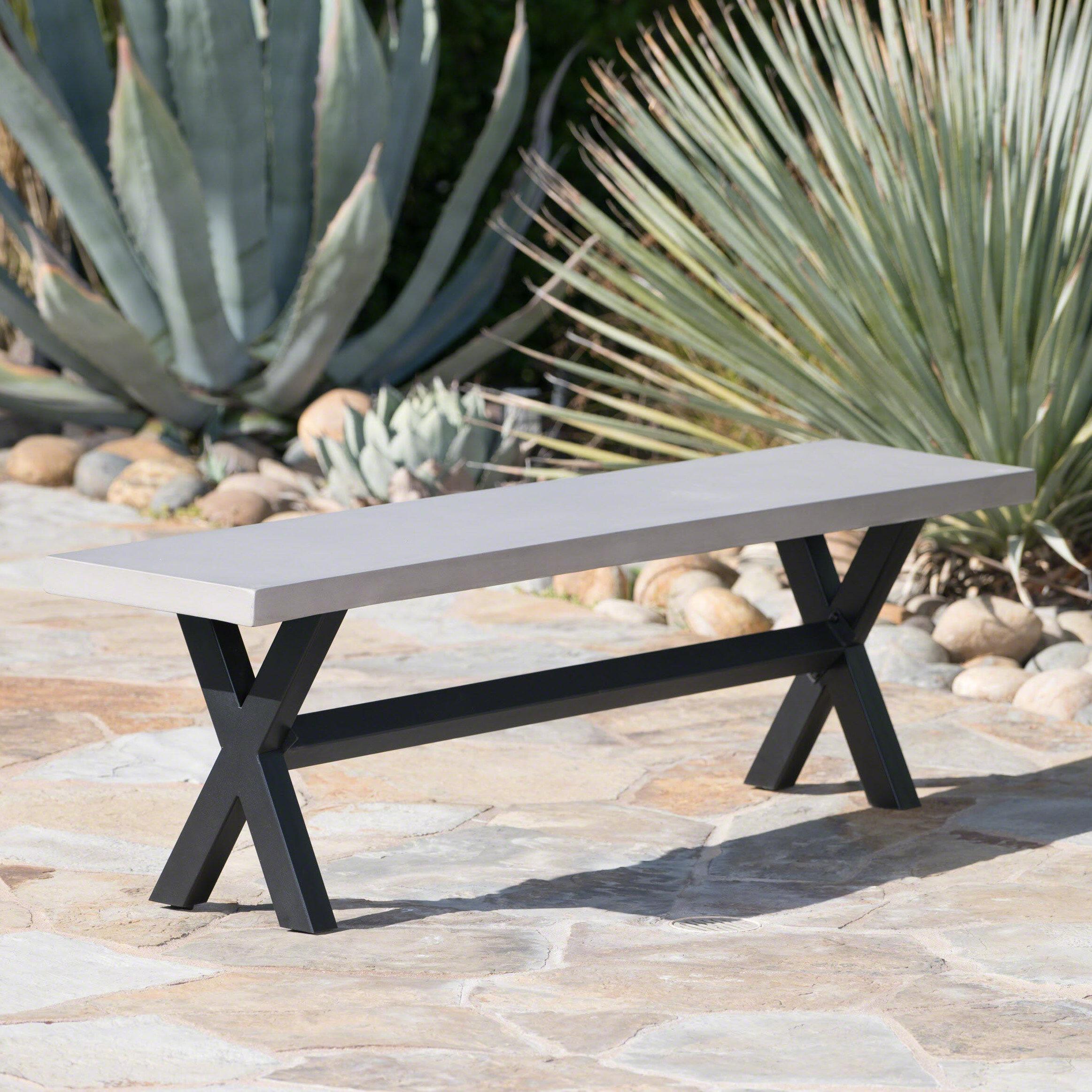Gracie Oaks Warlick Outdoor Concrete Picnic Bench Reviews Wayfair