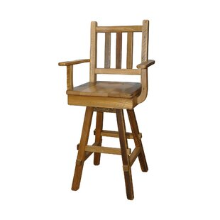 Tacoma 24 Barnwood Swivel Bar Stools (Set of 2) Millwood Pines