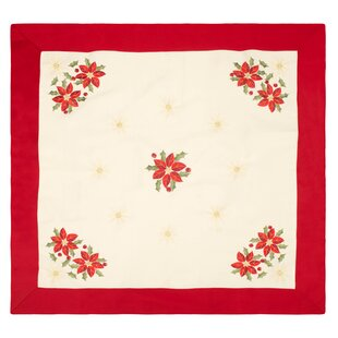 Gentil Holiday Embroidered Square Table Topper