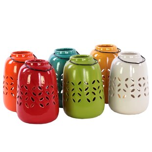 Urban Trends Ceramic Tea Light Lantern with Metal Handle (Set of 6)