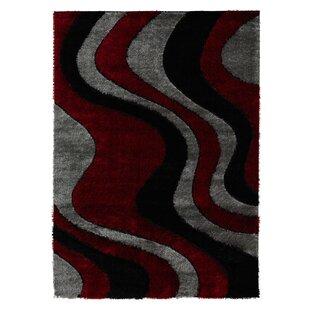 Reviews Severine Shaggy 3D Wave Red/Black Area Rug ByOrren Ellis