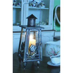 Steel And Glass Lantern By Astoria Grand