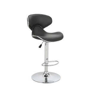 Dufrene Faux Leather Adjustable Height Swivel Bar Stool (Set of 2) by Orren Ellis