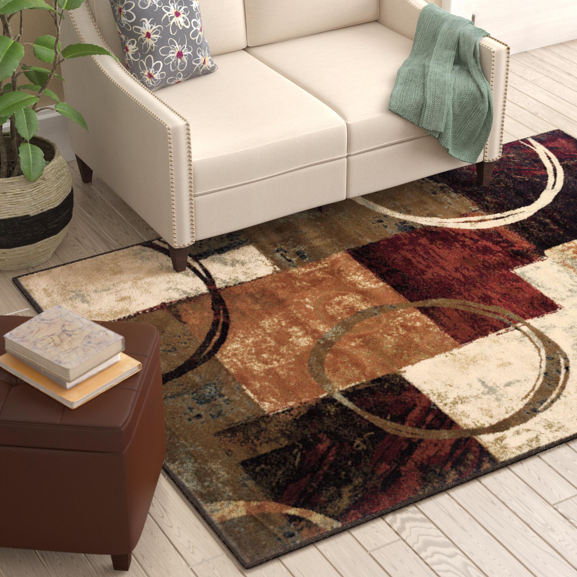 Tapis Salon Couleur Rouille tapis brun / noir / rouge rouille à motif abstrait shankle