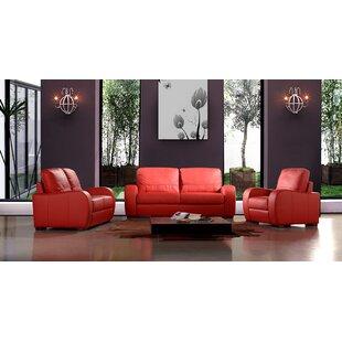 Hokku Designs Savana 3 Piece Leather Living Room Set