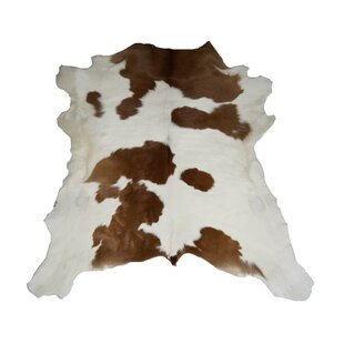 Flore Designer Cowhides Brown And White Calf Skin Area Rug