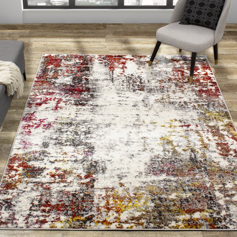 Williston Forge Marne Abstract Gray Beige Red Area Rug Wayfair
