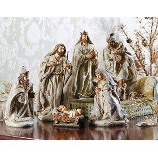 6 Piece Glittered Nativity Set