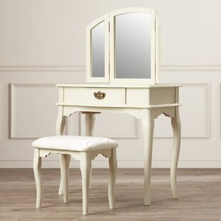 Charlton Home Dorfman 3-Piece Vanity Set with Trifold Mirror