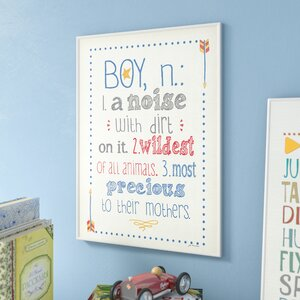 Stella Definition of Boy (n): A Noise with Dirt on It Typography Wall Plaque