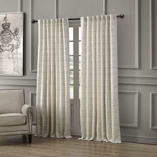 Astrid Striped Semi-Sheer Rod Pocket Single Curtain Panel by Waterford Bedding