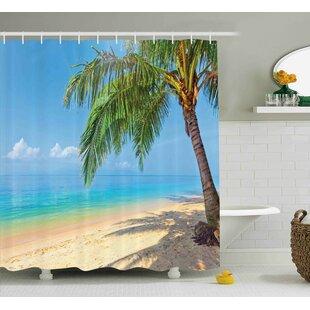 Jessenia Landscape Tropic Botanic Image With Coconut Palms Near Ocean Sea Beach Photo Shower Curtain ByEbern Designs