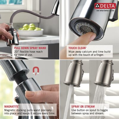 Delta Essa Pull Down Single Handle Kitchen Faucet with MagnaTite ...