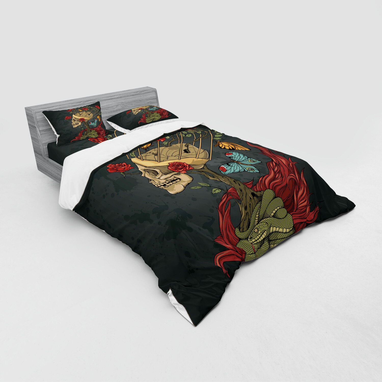 East Urban Home Evil Mexican Sugar Skeleton With Bush Of Roses Snake And Butterfly Artwork Duvet Cover Set Wayfair