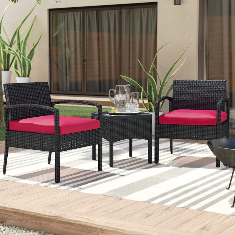 Kobe 3 Piece Rattan Conversation Set With Cushions