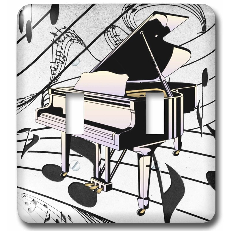3drose Art Deco Piano On Note Background 2 Gang Toggle Light Switch Wall Plate Wayfair