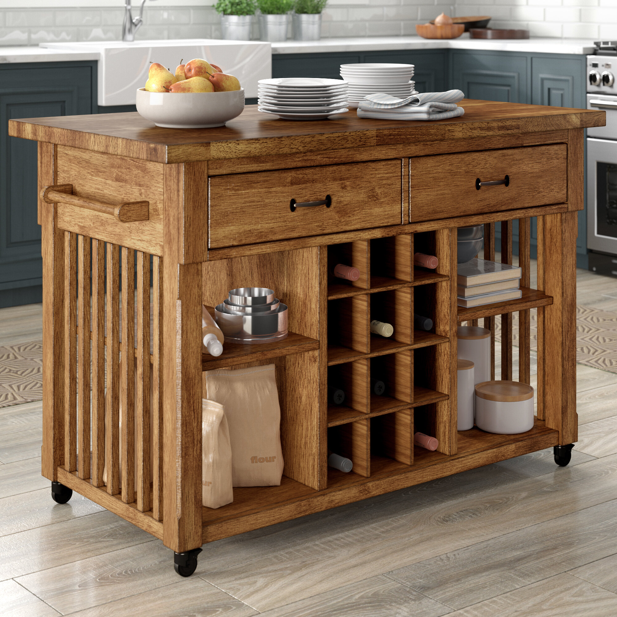 Three Posts Fortville Kitchen Cart With Wood Top Reviews Wayfair