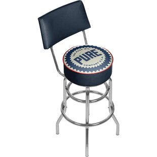 Pure Oil Wordmark Swivel Bar Stool with Back Trademark Global