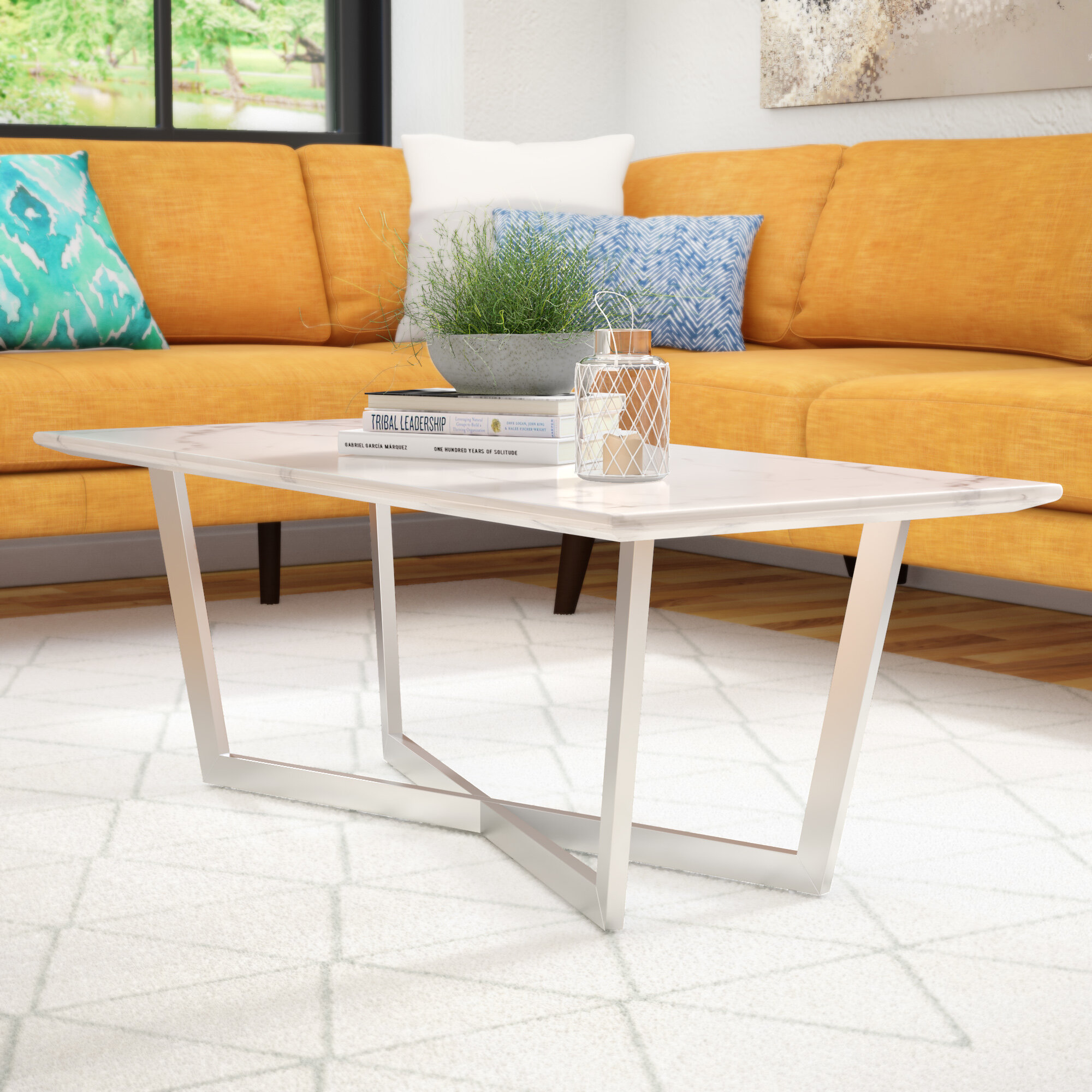 Groovy Rosenbalm Faux Marble Coffee Table Caraccident5 Cool Chair Designs And Ideas Caraccident5Info