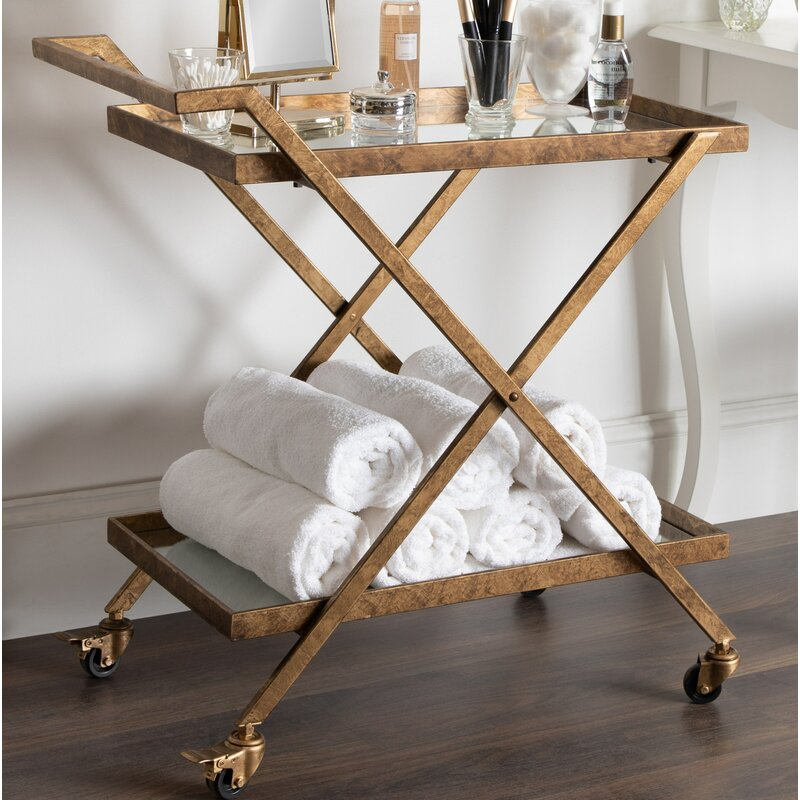 Curran 2-Shelf Metal and Mirror Tray Bar Cart - come see Charming European Country Interior Design Inspiration & Inspiring June Favorites: Part 2