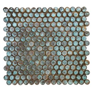 Penny Round Metal Mosaic Tile in Antique Green Copper