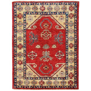 Americus Hand Knotted Cotton Red Rug by Rosalind Wheeler