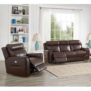 Red Barrel Studio Efren Reclining 2 Piece Leather Living Room Set