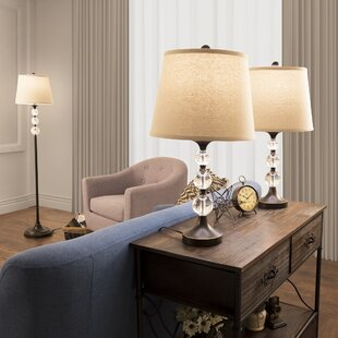 Crystal Ball 3 Piece Table and Floor Lamp Set by Lavish Home