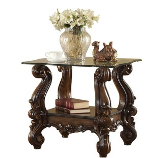 Jazmine Glass Top Wooden End Table