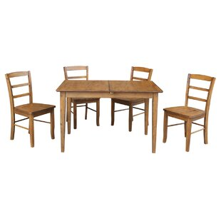 Kellar Butterfly Leaf Extension 5 Piece Solid Wood Dining Set