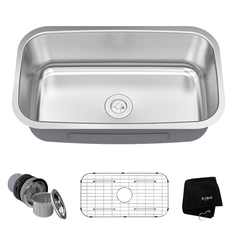 stainless steel 31   x 19   undermount kitchen sink with drain assembly stainless steel 31   x 19   undermount kitchen sink with drain      rh   allmodern com