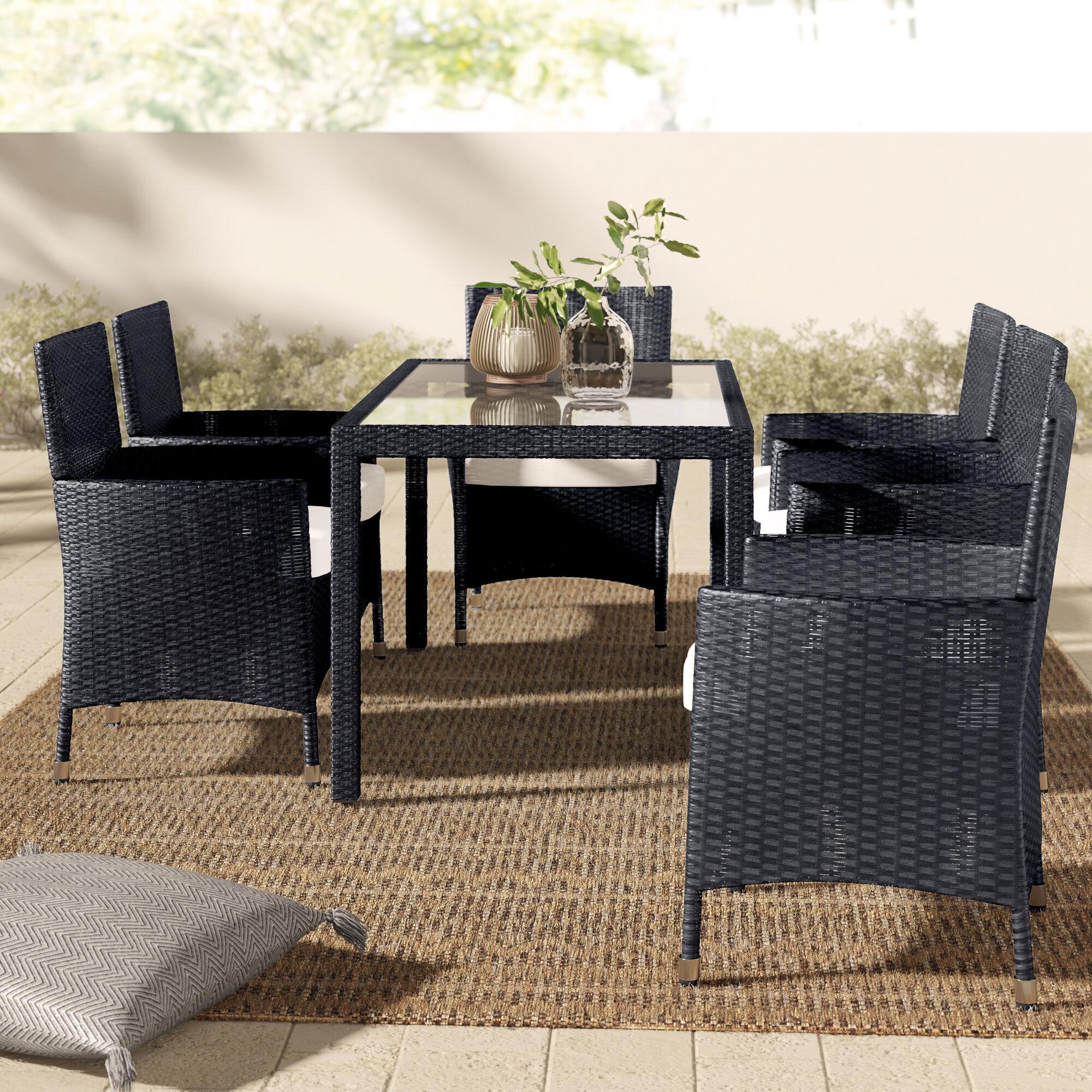 Mistana Alani 7 Piece Dining Set With Cushions Reviews Wayfair