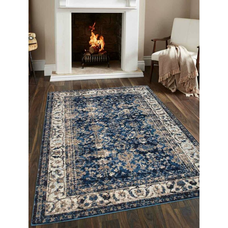 Bloomsbury Market Areswell Ivory Blue Area Rug Reviews Wayfair