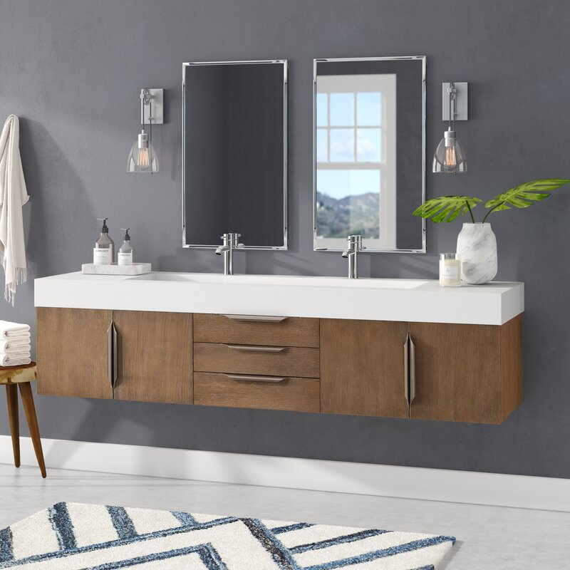 "Hukill 72"" Wall-Mounted Double Bathroom Vanity Set & Reviews"