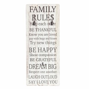 Family Rules Wedgewood Wall Mounted Coat Rack By Marlow Home Co.