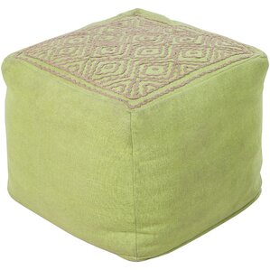 Umbria Embroidered Pouf Ottoman by Surya