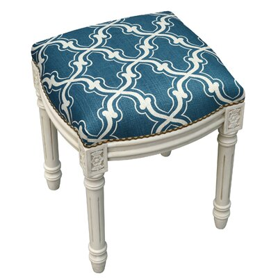 123 Creations Trellis Linen Upholstered Vanity Stool Color Navy Blue