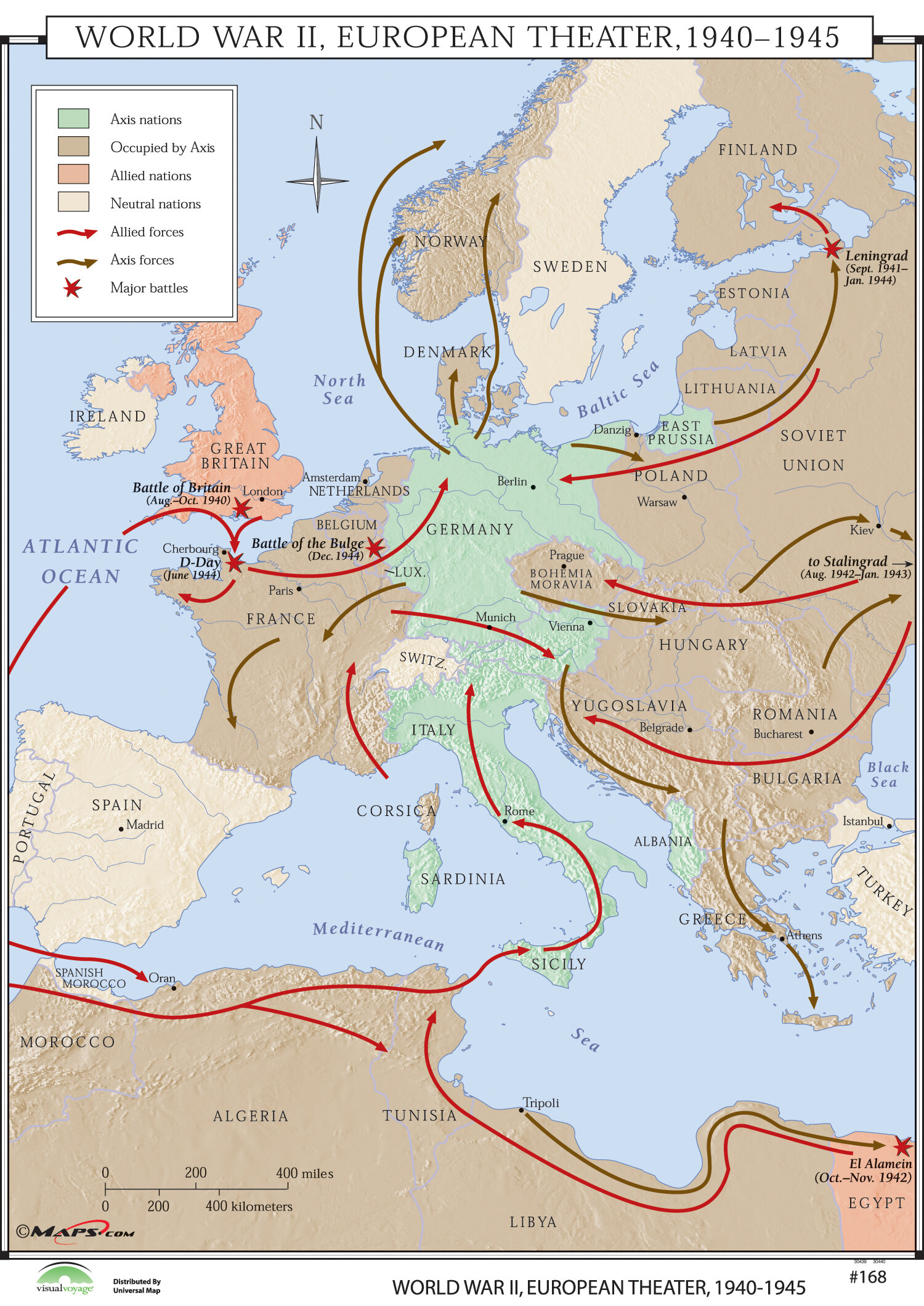 Universal Map World History Wall Maps - World War II European ...