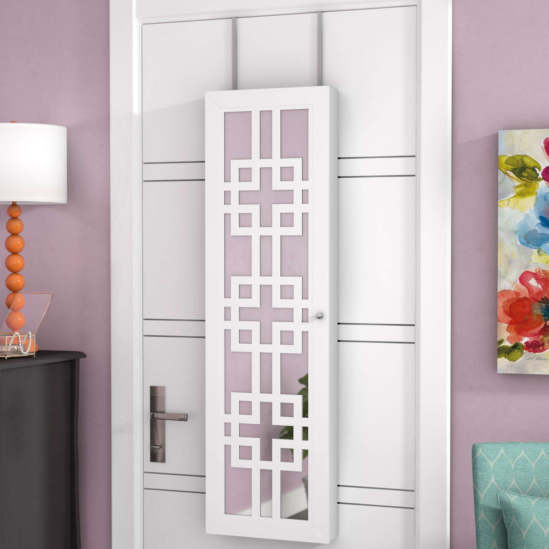 Mercury Row Modern Over The Door Jewelry Armoire With Mirror